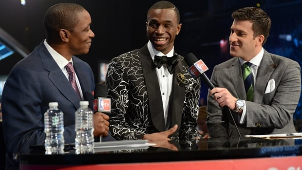 Andrew Wiggins of Vaughan, Ont., is interviewed by NBA TV prior to being picked No. 1 overall in the NBA draft on Thursday.