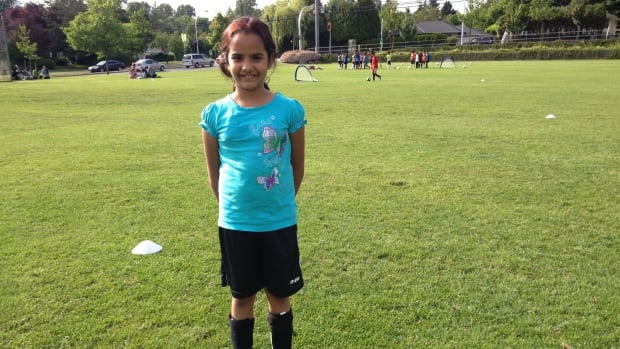 Tanya Sumra plays soccer in Surrey.
