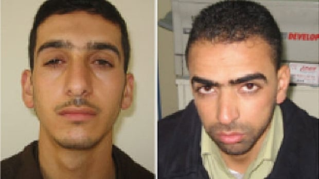 A combination photo provided Shin Bet, Israel's security service, shows Marwan Qawasmeh, left, and Amer Abu Aisheh. The security service identified the two as the central suspects in the recent disappearance of three Israeli teenagers.