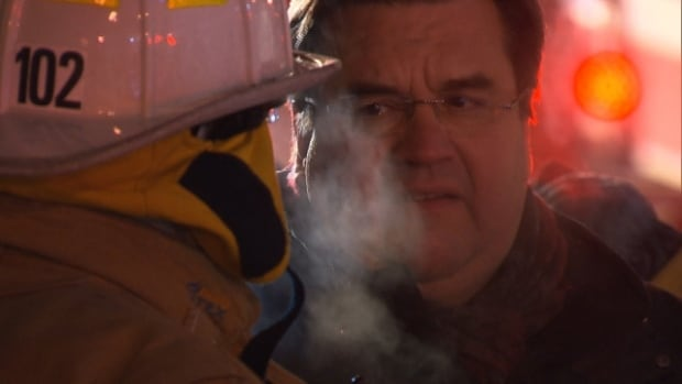 Montreal firefighters say Mayor Denis Coderre's support for pension reforms have made him an unwelcome presence at fires around the city.