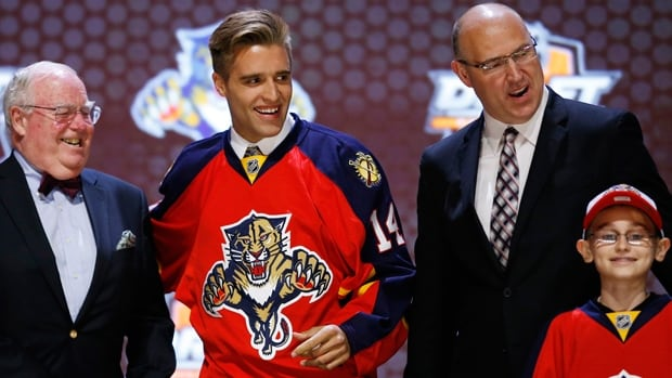 Aaron Ekblad is all smiles after being selected first overall by the Panthers in the NHL draft at Wells Fargo Center on Friday night.