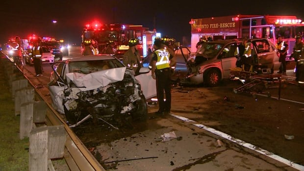 A woman travelling westbound on the eastbound lanes of the Gardiner Expressway overnight caused a crash that closed the highway for a few hours.