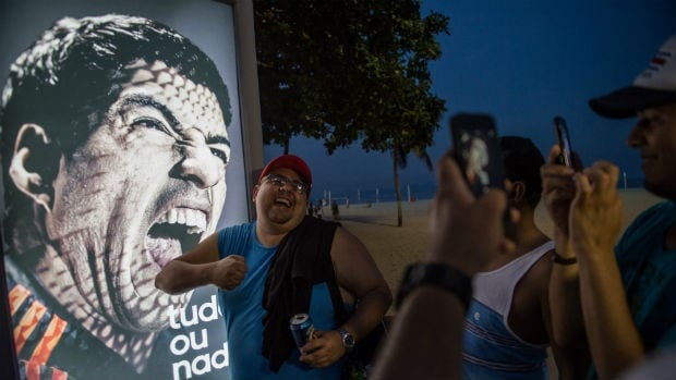 Fans have flocked to the Copacabana Beach Luis Suarez ad after the Uruguay striker bit Italian defender Giorgio Chiellini during a match at the 2014 World Cup.