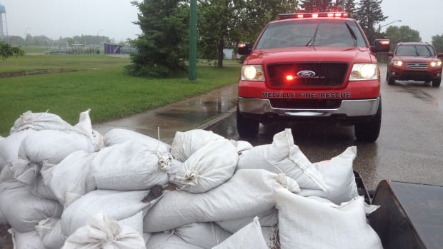 All of the Melville's fire trucks are out helping pump water and sandbag where necessary.