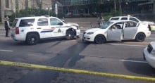 RCMP vehicle, car crash in front of Supreme Court