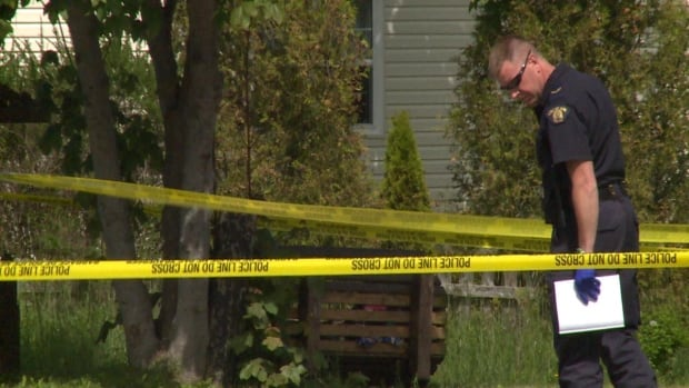 RCMP officer collects evidence in North River