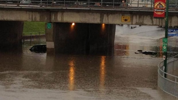Several vehicles were left covered with water Sunday in the underpass at Albert Street and Saskatchewan Drive in downtown Regina. No one was hurt.