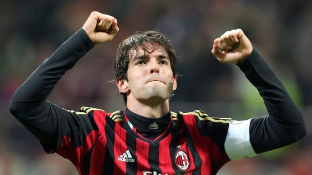AC Milan Brazilian forward Kaka celebrates after scoring during a match against Chievo Verona in March.
