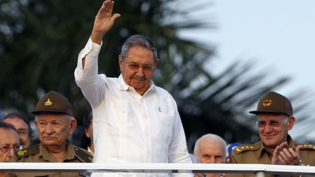 Cuba's President Raul Castro waves during the May Day parade in Havana May 1. His anti-corruption crackdown three years ago ensnared several Canadian businessmen, including Cy Tokmakjian.