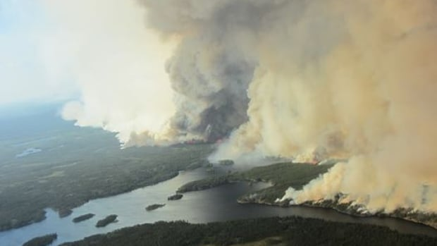 A wildfire one kilometre from the Taltson hydro plant in N.W.T.'s South Slave region caused NTPC to shut down the plant on June 29. Damage to a transmission line from the Snare hydro system caused outages in Yellowknife Tuesday. NTPC says it has not determined if the damage was caused by fires in the area.