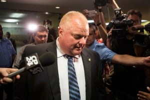 Mayor Rob Ford leaves his office on June 30, 2014