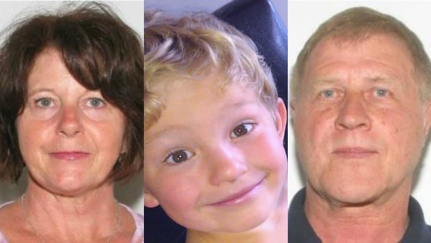 Nathan O'Brien, centre, and his grandparents, Kathy and Alvin Liknes, have not been seen since Nathan's mom left the Likneses' home in the southwest Calgary community of Parkhill on June 29, 2014. Douglas Garland was charged with three counts of first-degree murder.