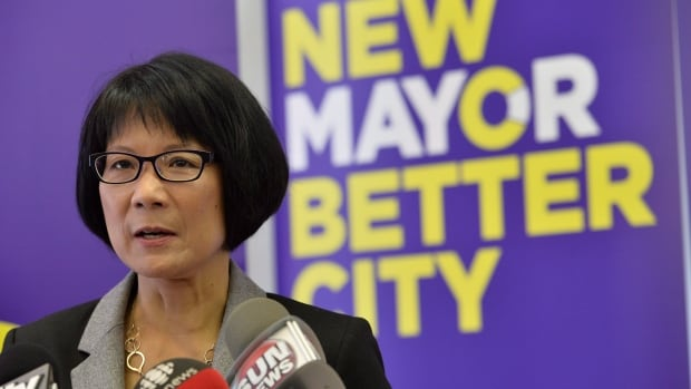 Mayoral candidate Olivia Chow, seen above in a photo taken in May, took aim at John Tory's transit plans in an announcement on Wednesday.
