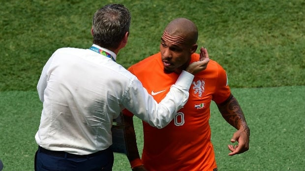 Dutch midfielder Nigel de Jong, right, started the Round of 16 clash against Mexico, but had to be subbed off after only nine minutes.