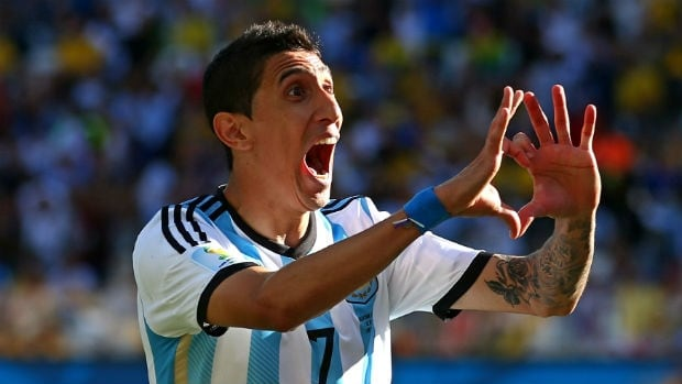 Angel di Maria of Argentina celebrates his match-winning goal in the 118th minute against Switzerland in the teams' Round of 16 clash at the 2014 FIFA World Cup.