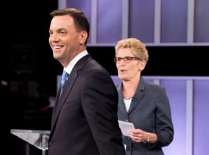 Tim Hudak and Kathleen Wynne after leadership debate