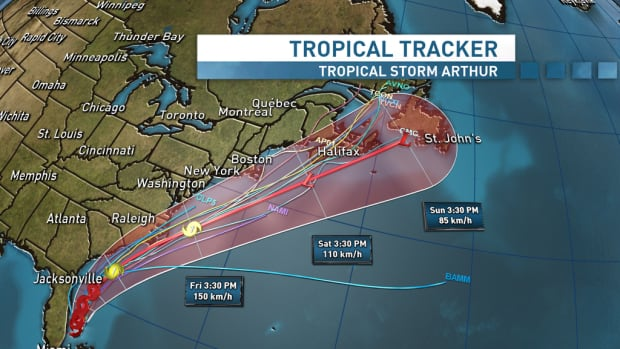Tropical storm Arthur is on track to hit Atlantic Canada this weekend.