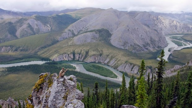 Marten Berkman on a ridge overlooking the canyons, gendarmes, and stunning castellated ridges near Mount Netro in Yukon's Peel watershed.