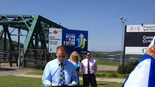 Peter Mackay speaks at the handover of the Canso Causeway Wednesday.