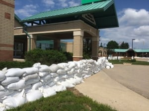 Sandbags at Melville hospital skpic