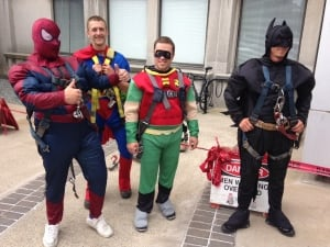 Spiderman, Superman, Robin, Batman, superhero window washers
