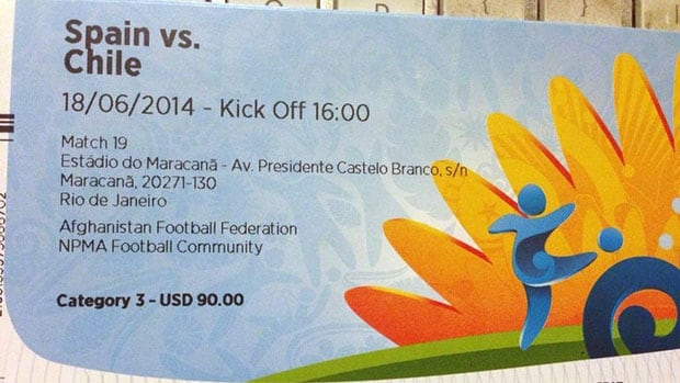 A ticket for the Spain vs. Chile match on June 18 with a face value of the $90 US was sold online for $775.