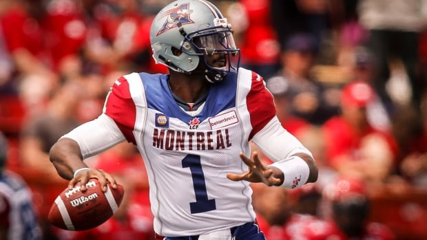 Montreal Alouettes quarterback Troy Smith looks for a receiver during first half CFL football action against Calgary in last week's opener.