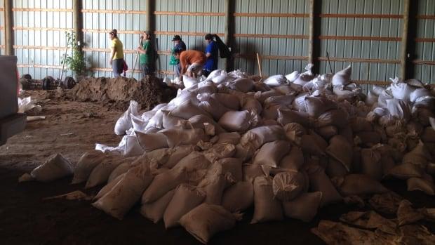 Volunteers fill sandbags at the Sioux Valley Dakota Nation on Thursday.