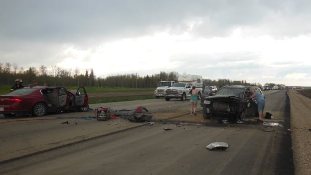 A 78-year-old man was killed in this head-on crash near Valleyview, Alta. on Thursday afternoon.
