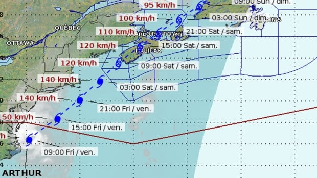 The most recent Hurricane Arthur track has shifted slightly to the west, according to the map issued by the Canadian Hurricane Centre 9 a.m. Friday.