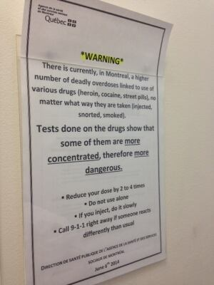Montreal Public Health overdose warning