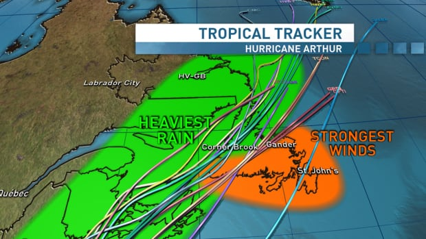 The heaviest rains are headed for western Newfoundland and south eastern Labrador, as Hurricane Arthur sweeps into Atlantic Canada over the weekend.