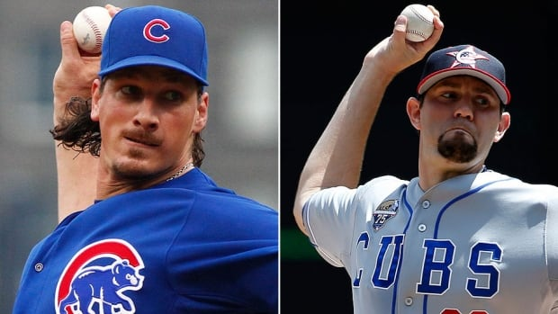 The Chicago Cubs on Friday night traded starting pitchers Jeff Samardzija, left, and Jason Hammel to Oakland in return for three players, including top prospects Addison Russell and Billy McKinney. Samardzija was only 2-7 this season with Chicago but sported a 2.83 ERA and had 103 strikeouts in 108 innings. Hammel was 8-5 with a 2.98 ERA and 104 strikeouts in 108 2/3 innings.