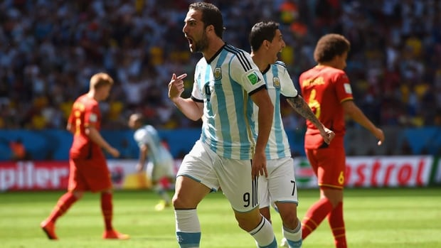 Gonzalo Higuain of Argentina celebrates his goal in the eighth minute against Belgium on Saturday.