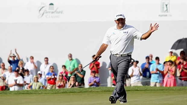 Angel Cabrera acknowledges the applause upon winning the Greenbrier Classic at Old White TPC in White Sulphur Springs, Va.