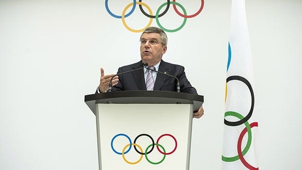 International Olympic Committee president Thomas Bach of Germany speaks during  Monday's announcement of the candidates to host the 2022 Olympics.