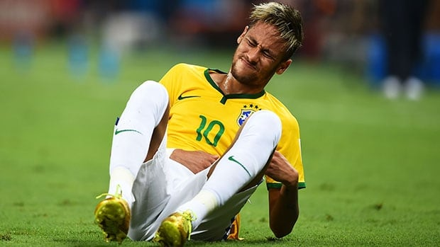 Neymar was ruled out of the rest of the World Cup after being kneed in the back late in Brazil's 2-1 quarter-final victory over Colombia.