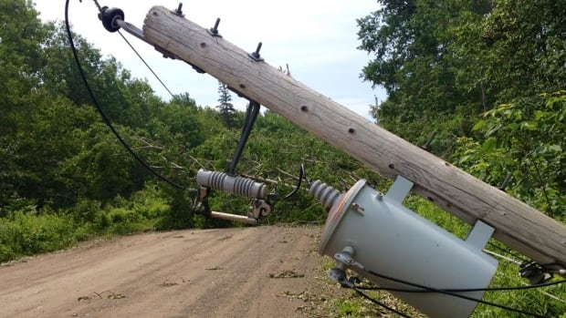 It's extreme damage like this in Baxters Harbour, N.S., that has left 2,300 Nova Scotia Power customers without electricty, almost a week after post tropical storm Arthur.
