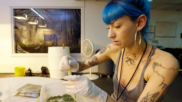 Stevie Askew, a worker at Sea of Green Farms, packs recreational marijuana into blunts that will be sold in stores when legal recreational pot sales begin Tuesday, July 8, in Washington state.