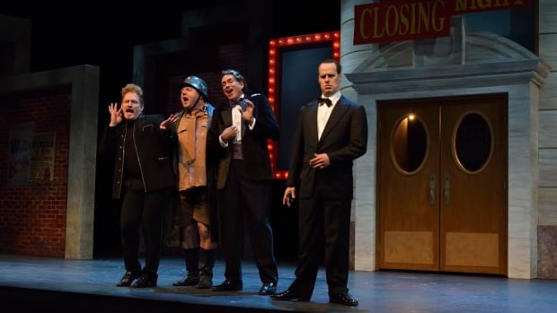 Carson Nattrass (Carmen Ghia), Cory Wojcik  (Franz Liebkind),Ed Ledson (Roger Debris) and Simon Miron (Leo Bloom) in The Producers