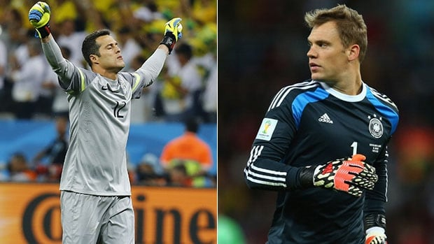 No two players will have more pressure to deal with in the first semifinal matchup than Germany goalkeeper Manuel Neuer, right, and Brazilian counterpart Julio Cesar on Tuesday.