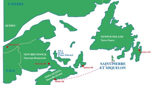 The race course from the Halifax Waterfront to Saint-Pierre, France.