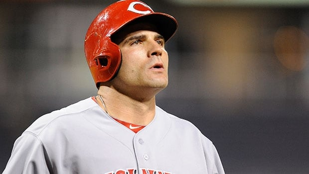 Joey Votto missed 23 games earlier this season with a strained muscle above his left knee.
