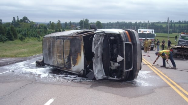Two people escaped this panel van before it was engulfed in flames in Springvale, P.E.I.