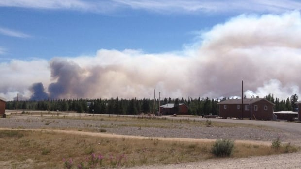 Nora Doig took this photo of the fire and smoke near Gameti, N.W.T., over the weekend. As of Monday, a 25,000 hectare fire was six kilometres from the community.