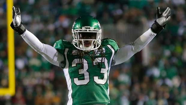Dwight Anderson celebrates a play in last year's Grey Cup while with Saskatchewan.