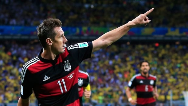 Germany's Miroslav Klose scored his 16th career World Cup goal in his team's win over Brazil in the semifinals on Tuesday.