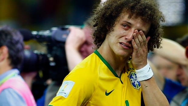 Brazil's David Luiz cries after his team lost 7-1 to Germany in their 2014 World Cup semifinals.