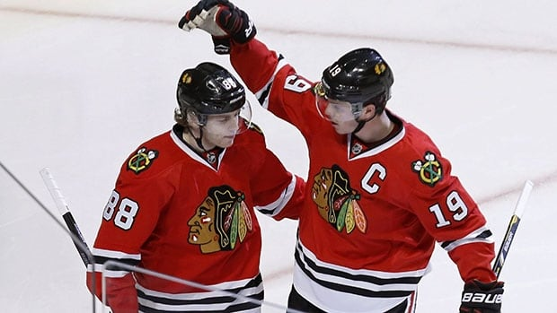 Patrick Kane, left, and Jonathan Toews have won a pair of Stanley Cups together with Chicago.