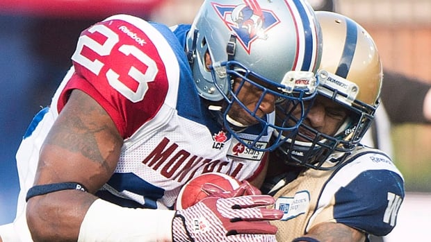 Running back Jerome Messam, seen here with the Montreal Alouettes last season, signed on with the Saskatchewan Roughriders on Wednesday.